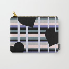 Three Black Hearts - Purple Green Carry-All Pouch