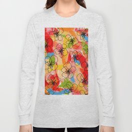 Hibiscus Family no.1 hibiscus illustration flower pattern floral painting nursery room decor Hawaii Long Sleeve T-shirt
