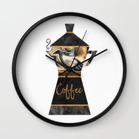 coffee Wall Clocks featuring Coffee by Elisabeth Fredriksson