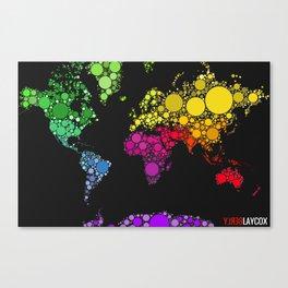 World Map (Black Version) Canvas Print
