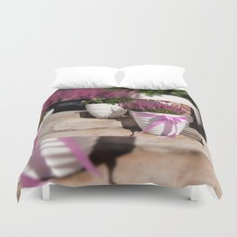 Blooming Calluna vulgaris or heather Duvet Cover