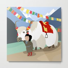A child and his best friend Metal Print