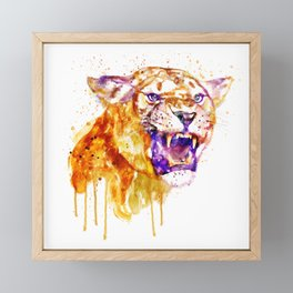 Angry Lioness Framed Mini Art Print