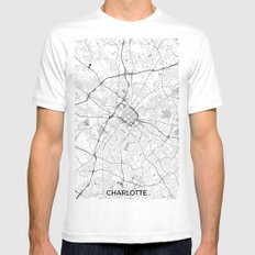 Charlotte Map Gray MEDIUM Mens Fitted Tee White