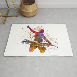 Young snowboarder man 02 in watercolor Rug