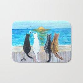 Cat Beach Sunset Bath Mat