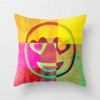 emoji Throw Pillows featuring Emoji cushion by Sw19Gallery