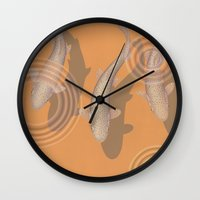 trout Wall Clocks featuring Rainbow Trout by Great Gray Art