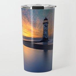 Sunset at Talacre Lighthouse Travel Mug