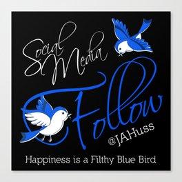 FILTHY BLUE BIRDS Canvas Print