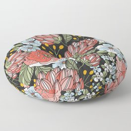 Retro Vintage Floral Arrangement On Black Background Floor Pillow