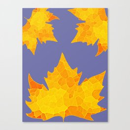 Stained Glass Tiffany style Sycamore leaves on green Canvas Print