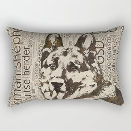 German Shepherd Dog - Wooden Texture  on Canvas Rectangular Pillow
