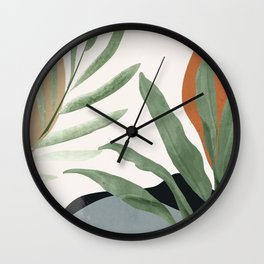 Abstract Art Tropical Leaves 10 Wall Clock