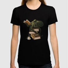 Well-Read Octopus Womens Fitted Tee Black SMALL