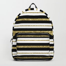 Gold Black White Stripe Pattern Backpack
