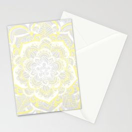 Woven Fantasy - Yellow, Grey & White Mandala Stationery Cards