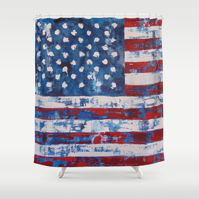 distressed american flag vertical hang shower curtain by blanccanvas