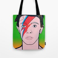 david bowie Tote Bags featuring David Bowie by Alli Vanes