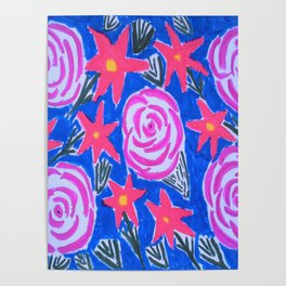 Classic Pink and Blue Floral Poster