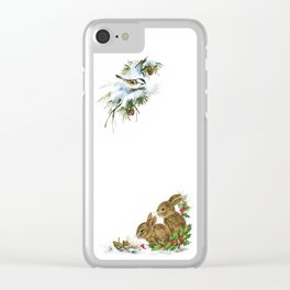 Winter in the forest - Animal Bunny Illustration Clear iPhone Case