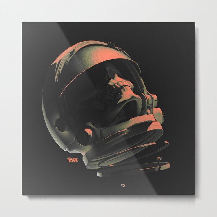 Space Skull Noir Metal Print