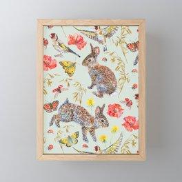 Bunny Meadow Pattern - Green Framed Mini Art Print
