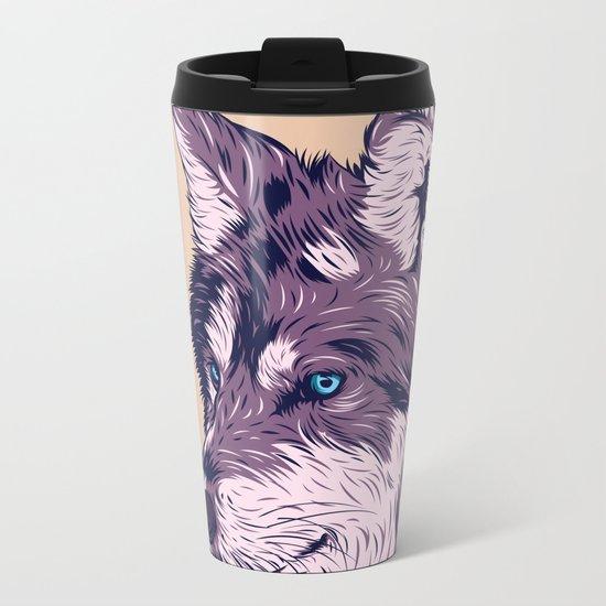 Blue eyed wolf Metal Travel Mug
