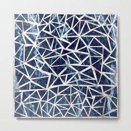 Mozaic Triangle Blue Marble Metal Print