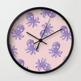 Octopus - Light Pink Wall Clock