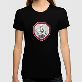 Butcher With Meat Cleaver Shield Retro T-shirt