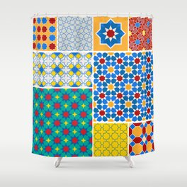 Moroccan pattern, Morocco. Patchwork mosaic with traditional folk geometric ornament. Tribal orienta Shower Curtain