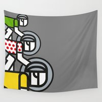 tour de france Wall Tapestries featuring Peloton Tour De France by sonsofwolves