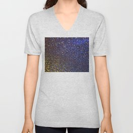 Blue and Gold Sparkles Unisex V-Neck