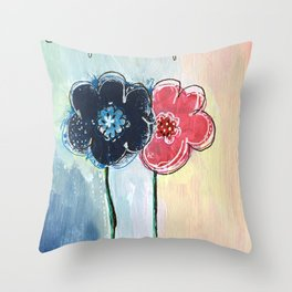 Happy Simple Flowers Throw Pillow