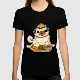 Cute & Funny Pug Puppy Dog Food Addict T-shirt