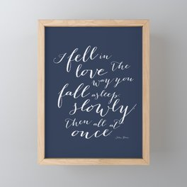I Fell in Love Quote from The Fault in Our Stars in Navy Blue Framed Mini Art Print