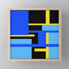 Rectangles - Blues, Yellow and Black Framed Mini Art Print
