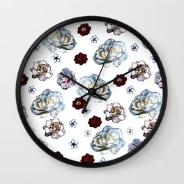 Flowers on White Wall Clock
