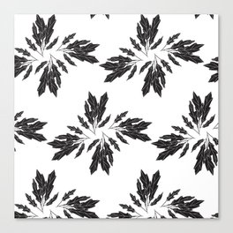 Black Leaves Pattern Canvas Print