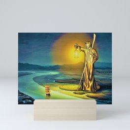 The Guiding Light, magical realism river landscape painting Mini Art Print