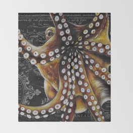 Octopus Vintage Map Colored Pencil Nautical Throw Blanket