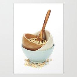 bowl of oat flake on white background Art Print