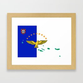 Azores Flag with Map of the Azores Islands Framed Art Print