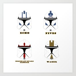 collection helmets clone wars troopers Art Print