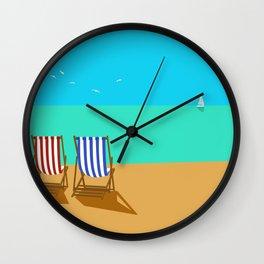 Deckchairs on the Beach Wall Clock