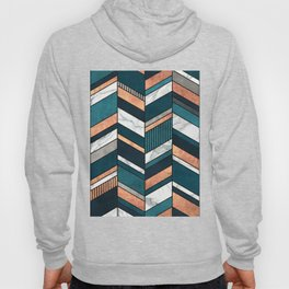 Abstract Chevron Pattern - Copper, Marble, and Blue Concrete Hoody