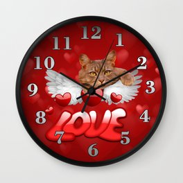 Cat and Hearts Wall Clock