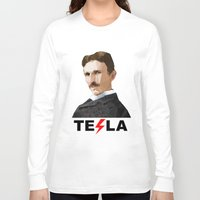 tesla Long Sleeve T-shirts featuring Tesla by Vi Sion
