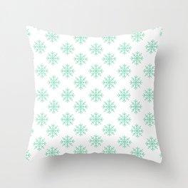 Snowflakes (Mint & White Pattern) Throw Pillow